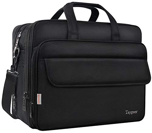 (Taygeer Large Briefcase for Men Women , 17 Inch Laptop Bag , Water Resitant Computer Messenger Shoulder Bags, Expandable Business Attache, Carry On Handle Travel Case for 17