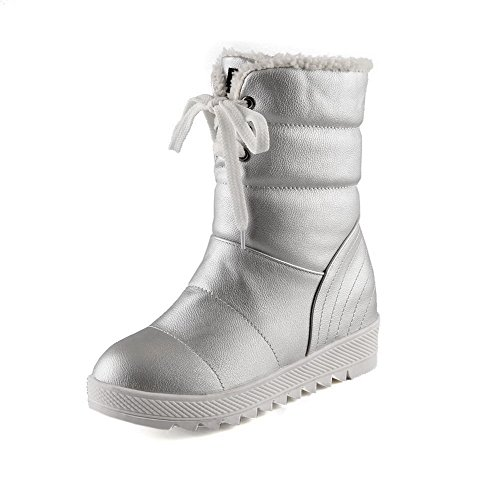 Material Low Allhqfashion Low top Soft Silver Boots Women's Heels Toe Round Solid Closed wqZ0napZHO