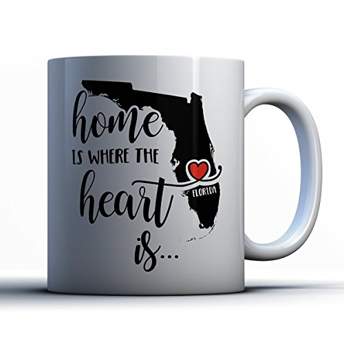 Florida Coffee Mug - Florida Is Where The Heart Is - Adorable 11 oz White Ceramic Tea Cup - Cute Floridian Gifts with Florida - Jersey New In Mall City Atlantic