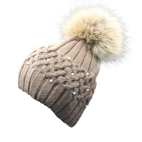 bebaafecc DEESEE Women Winter Pearl Crochet Hat Fur Wool Knit Beanie Warm Cap ...