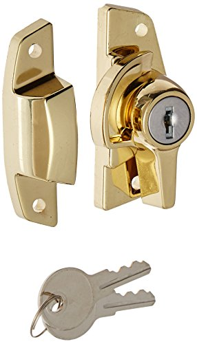 Slide-Co 17695-BB Keyed Sash Lock - Child-Proof Security Lock Only Unlocks With Key - For Aluminum, Vinyl or Wood Double-Hung Windows - 2