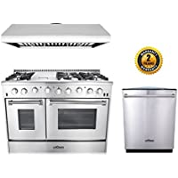 Thor Kitchen 3-Piece Kitchen Package with HRG4808U 48 6 Burner Stainless Steel Gas Range, HRH4806U 48 Under Cabinet Range Hood In Stainless Steel and HDW2401SS 24 Dishwasher in Stainless Steel