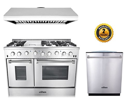Thor Kitchen 3-Piece Kitchen Package with HRG4808U 48″ 6 Burner Stainless Steel Gas Range, HRH4806U 48″ Under Cabinet Range Hood In Stainless Steel and HDW2401SS 24″ Dishwasher in Stainless Steel