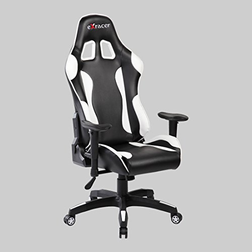 Ayvek Chairs JD-7218-BLWH Superswift Ergonomic High Back Racer Style Gaming Chair, Black/White
