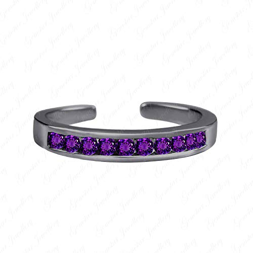Gemstar Jewellery Elegant Retro Toe Ring in 925 Silver 14k Black Gold Finish Round Purple Amethyst