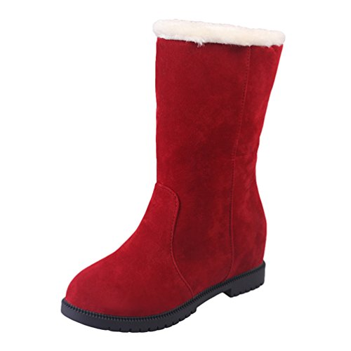 Dooxi Womens Winter Warm Snow Boot Fashion Thick Slip On Shoes Non-slip Mid Walking Boots Red 6Qfonhz0cK