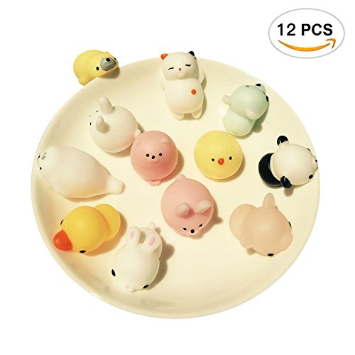12Pcs Gumes Great Fidget Toy  Kawaii Cute Slow Rising Animal Squishies Kid Toy Gift Hand Toy  Colorful Seals Stress Pressure Vent Decompression Educational Toy   12 Styles