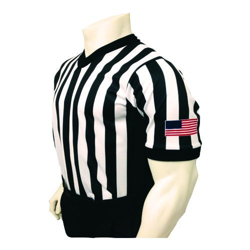 Smitty Men's V-Neck Basketball Referee Shirt with Black Side Panel & USA Flag