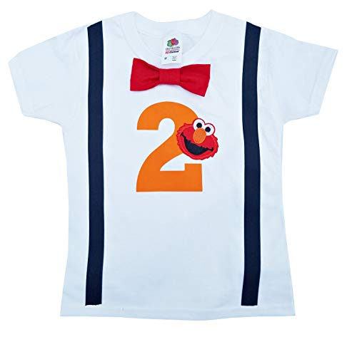 2nd Birthday Shirt Boys Elmo Tee (3T Long Sleeve) Red