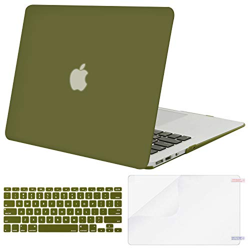 MOSISO Plastic Hard Case & Keyboard Cover & Screen Protector Only Compatible MacBook Air 13 Inch (Models: A1369 & A1466, Older Version 2010-2017 Release), Capulet Olive