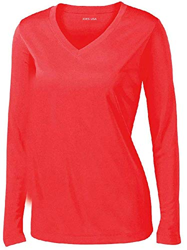 Hot Coral Apparel - Joe's USA - Ladies Long Sleeve Moisture Wicking Athletic Shirts, Hot Coral Medium