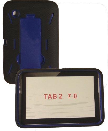 [Rhino] Black Blue Heavy Duty rugged impact Hybrid Case with Kickstand For Samsung Galaxy Tab 2 (7.0 Inch) tablet (Galaxy Tab 7 3g)