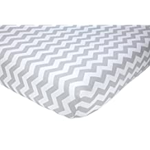 """Little Love by NoJo Separates Collection Printed Chevron Crib Sheet, Grey/White, 52"""" X 28"""""""