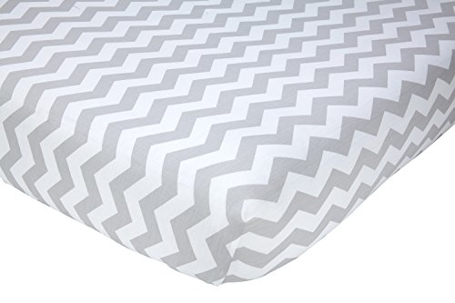 Chevron Collection - Little Love by NoJo Separates Collection Printed Chevron Crib Sheet, Grey/White, 52