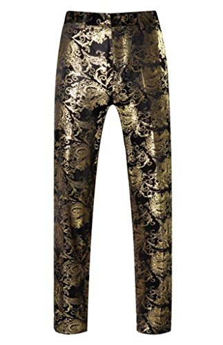MOGU Mens Luxury Gold Dress Pants with Expandable Waist Size 29/30 (tag Size 48) Gold