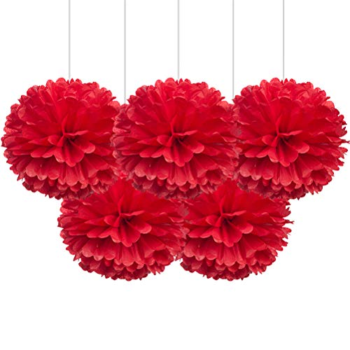 "16"" Red Tissue Pom Poms, Paper Flower Hanging Party Decorations, Pack of 5"