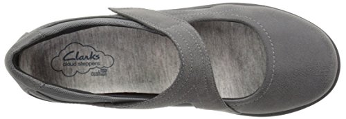Clarks Womens CloudSteppers Sillian Bella Mary Jane Flat, Grey Synthetic, 11 W US
