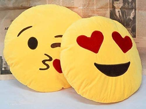 mayoo Smiley Emoji Pillow Cushion Soft Toys Stuffed Plush Combo Naughty & Flying Kiss for Sofa Bed Home Office Car Decoration Birthday Gift - 35 cm (Heart Eye & Flying Kiss)