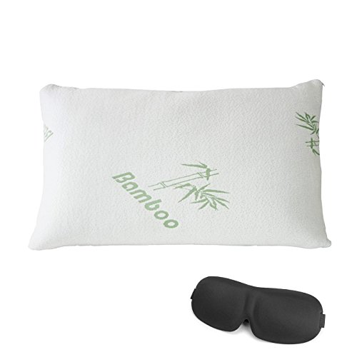 Premium Bamboo Pillow Queen Size - Shredded Memory Foam - Orthopedic Pillow Standard Size, Dust Mite Resistant & Hypoallergenic Pillow with Carrying Bag Included 3D Sleeping Eye Mask (Queen) (Queen Mask Sleeping)