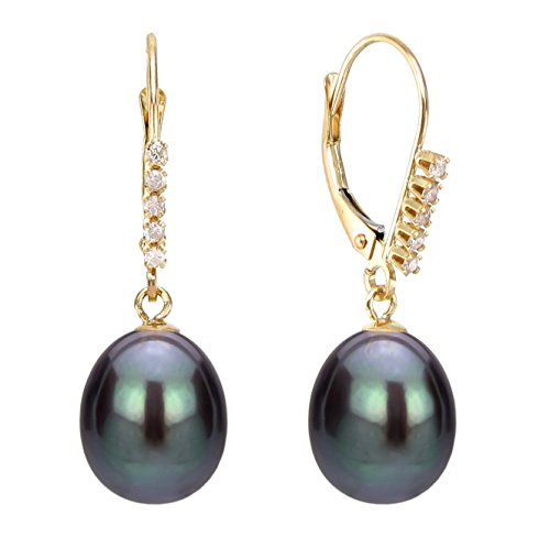 (Diamond Jewelry Cultured Freshwater Black Pearl Earrings Gold Leverbacks Birthday Gift 1/10 CTTW 9-9.5mm)