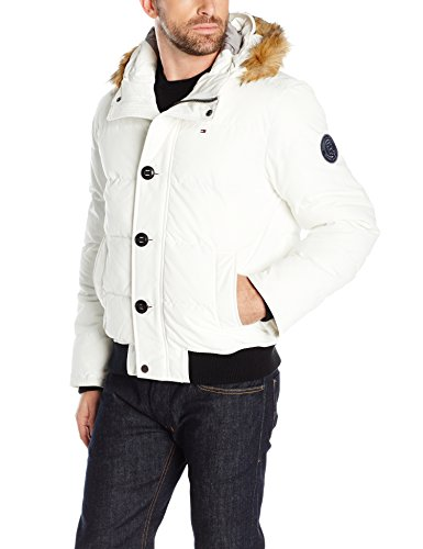 (Tommy Hilfiger Men's Arctic Cloth Quilted Snorkel Bomber with Removable Faux Fur Trimmed Hood, White, S)