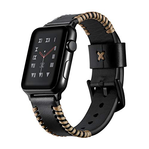 (Apple Watch Series 4 3 2 1 Handmade Suture Genuine Leather Band Strap Bangle Outdoor Stitched Leather Bangle Strap Wrist Band Apple Watch S1 S2 S3 S4 -Black iWatch 42/44mm)