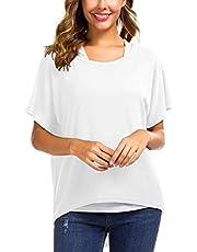Meyison Damen Lose Asymmetrisch Sweatshirt Pullover Bluse Oberteile Oversized Tops T-Shirt Weiss-L