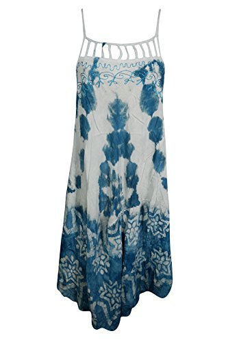 Mogul Interior Womens Tank Dress Cover up Embroidered Sleeveless Cutout Neck Loose Himline Flare Boho Chic Sundress (Blue, White (Embroidered Cut Out Dress)