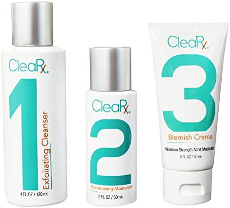 CleaRx 3-Step Maximum Strength Moderate to Severe & Stubborn Acne Treatment Medication, Cleanser and Moisturizer Regimen for Adults, Teens & Hormonal Breakouts (60 Day Supply)