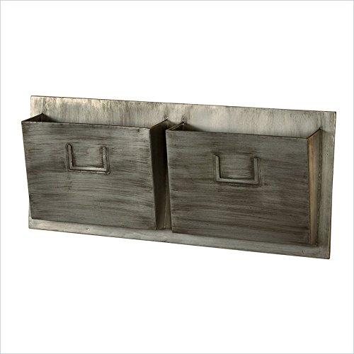 Linon Industrial Metal 2-Slot Mailbox, Horizontal