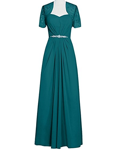 VaniaDress Women Long Mother Of The Bride Dress With Jacket V095LF Teal Green US14