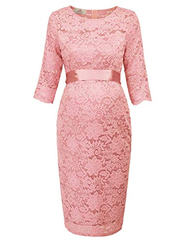 GRACE KARIN Women Maternity Pregnant Floral Lace Party Evening Bodycon Dress (Small, Pink)