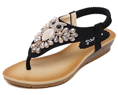 Fortuning's JDS Women's Cute Rhinestone Owl Decration Flat shoes Wedges Thong Sandals Black Y3WAyFpf