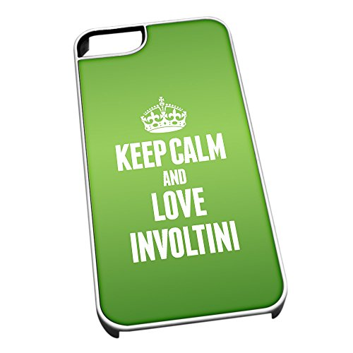 Bianco cover per iPhone 5/5S 1183 verde Keep Calm and Love involtini
