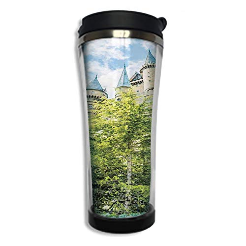 Travel Coffee Mug 3D Printed Portable Vacuum Cup,Insulated Tea Cup Water Bottle Tumblers for Drinking with Lid 8.45 OZ(250 ml)by,Wizard,Witchcraft School and Wizard Castle in Woods Replica in Japan Pi