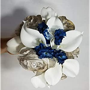 Champagne Navy Blue Rose Calla Lily Bridal Wedding Bouquet & Boutonniere 4