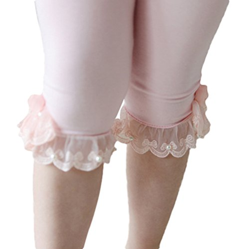 Summer Fairy Lace Wings - Little Girls Solid Color Cotton Legging with Lace Trim Bead Flowers