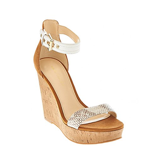 (Marc Fisher New Womens Heart Ankle Strap Cork Wedges White Sz 8 M ASO QVC)