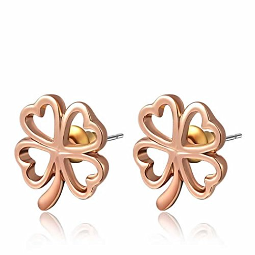 Duo La Lucky Four Leaf Clover 18K Rose Gold Plated Lady Elegant Stud Earrings (Duo Costume Ideas)