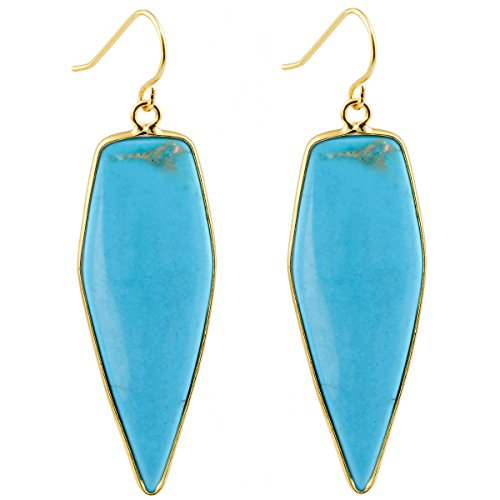 SUNYIK Women's Blue Howlite Turquoise Healing Point Dangle Earrings