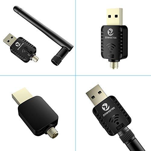 Recbot WiFi USB Adaptador 600Mbps Receptor 802.11AC con Dual Banda(5GHz 433Mbps / 2.4GHz 150Mbps) Antena 5dBi compatibie Windows XP/7/8/8.1/vista/2000/Mac OS