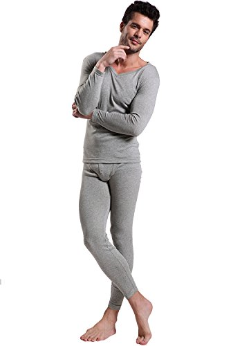 Price comparison product image Godsen Mens Cotton V-neck Thermal Underwear Sets (Us-m/cn-xl, Gray)