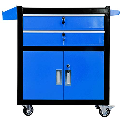 ZHAOHUI Tool Trolley Cart 3-Tier Industrial Grade Drawer Type Organizer Multifunction Workshop Toolbox, 3 Colors 630x330x760mm (Color : Blue)