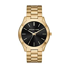 Watch Sizing Guide The Michael Kors® Slim Runway watch is polished perfection. A classic three-link bracelet, gold-tone topring and monochromatic sunray dial with gold-tone stick indexes add up to a wear-with-everything timepiece that dresse...