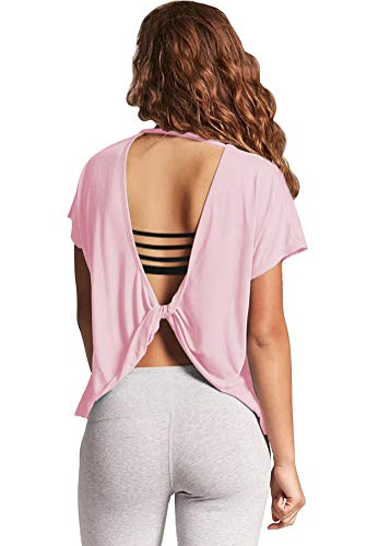 Mippo Womens Sexy Backless Yoga Tops Stretchy Cute Open Back Tank Top Summer Knotted Shirt Casual Flowy Trendy Tops Junior Work Out Cloth Pink M ()