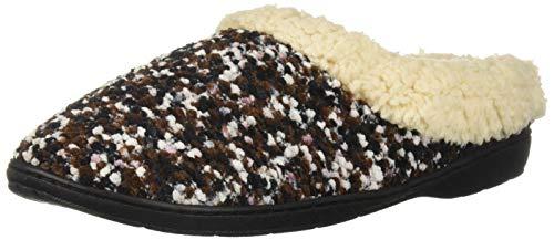 Dearfoams DF Women's Boucle Clog Slipper, Black, M Medium US -