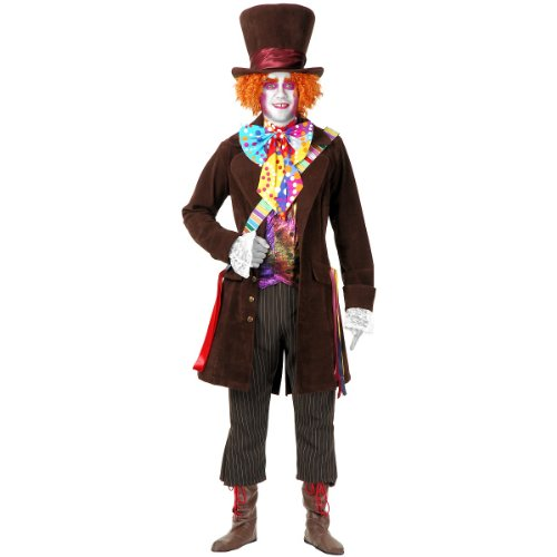 Mad Hatter Costume Makeup (Electric Mad Hatter with Pants & Boots Adult Costume - X-Large)
