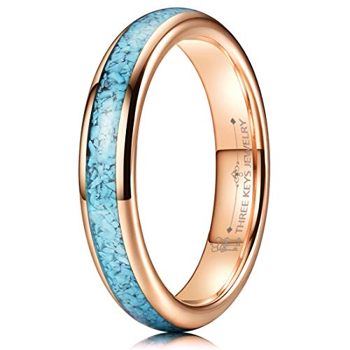 THREE KEYS JEWELRY Women Wedding Bands 4mm Tungsten Viking Carbide Turquoise Granules Ring with Jewels Flat Polished Infinity Unique for Her Rose Gold Size 5.5