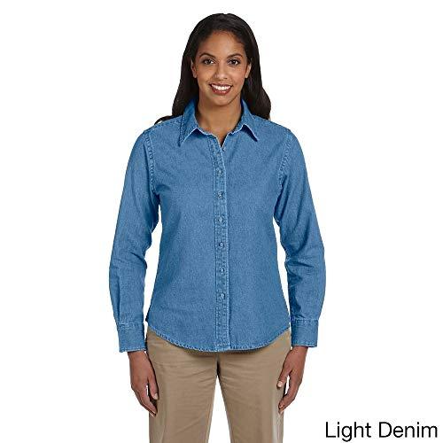 - Harriton Women's Long Sleeve Denim Shirt Light Denim M