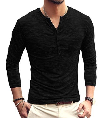 PERDONTOO Men's Slim Fit Long Sleeve Henley T-Shirt Casual Basic Tee (Large, Black)